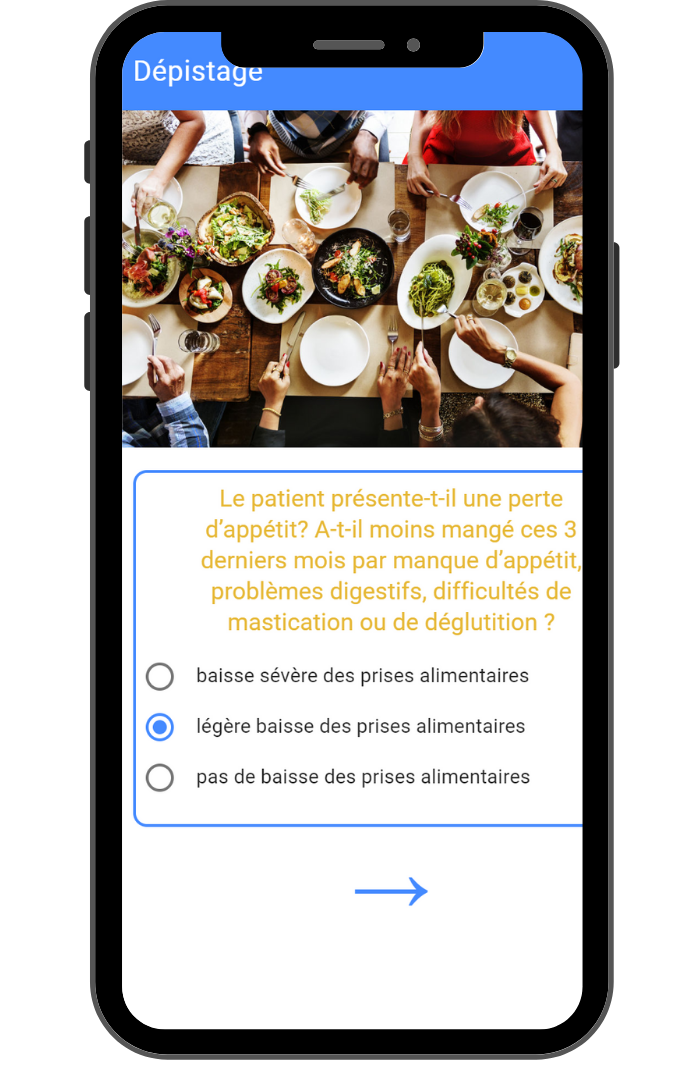 Ecran de l'application orexial MNA
